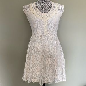 Off-White Lace Mini Dress